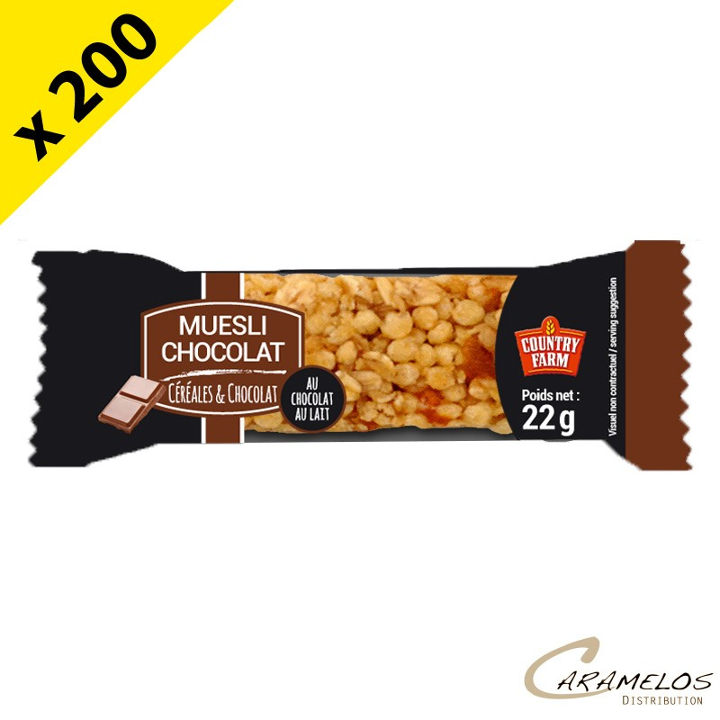 BARRE MUESLI CHOCOLAT COUNTRY FARM 22GR