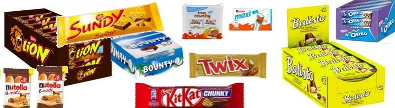 Toutes les barres en chocolat : Twix, Mars, Snickers, Lion sont ici.